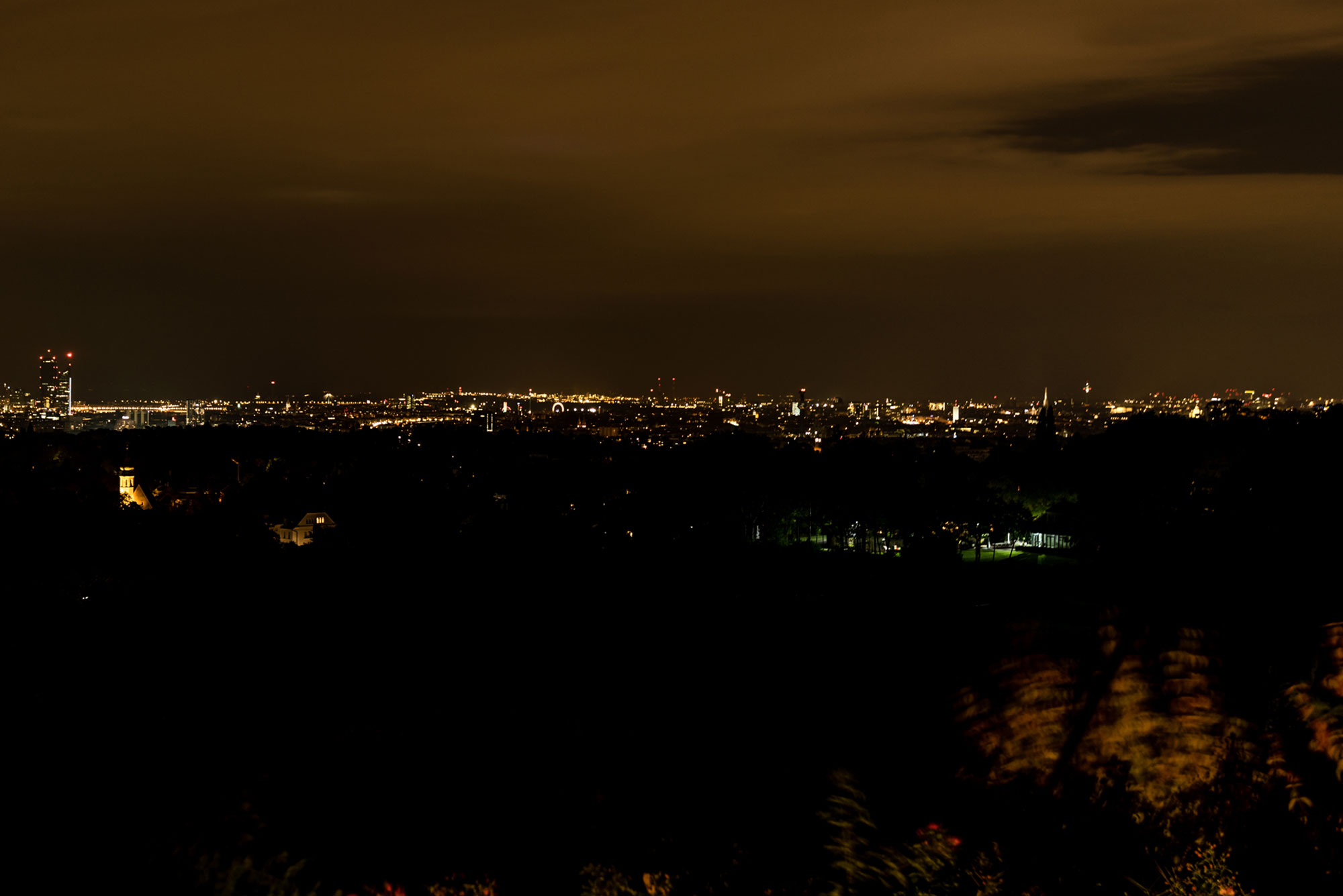 nightview over Vienna from Weingut am Reisenberg
